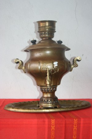 Old copper teapot samovar