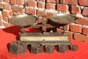 French antique scale with weights