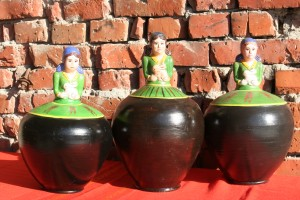 Bulgarian pottery jugs of water