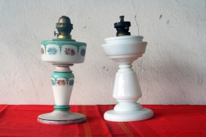 Glasess Old Gas Lamp set