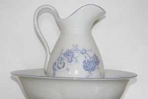 Old Kettle with a bowl Czech porcelain set