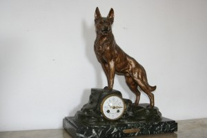 French Clock with Wolf